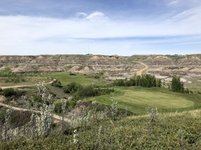 After a tree-lined front nine, the back-side at Dinosaur Trail Golf Club plays atop the hoodoos in Drumheller, Alta. The 18-hole hangout is just down the road from the world-Famous Royal Tyrrell Museum (Wes Gilbertson/Postmedia)