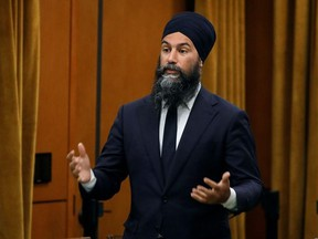 Canada's New Democratic Party leader Jagmeet Singh speaks during a meeting of the special committee on the COVID-19 pandemic, as efforts continue to help slow the spread of the coronavirus disease (COVID-19), in the House of Commons on Parliament Hill in Ottawa, June 16, 2020.