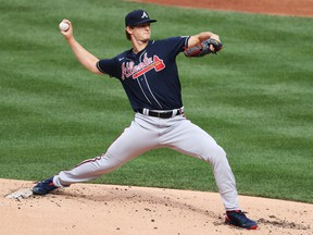 Mike Soroka of the Atlanta Braves pitches against the New York Mets during Opening Day at Citi Field on July 24, 2020 in New York City.