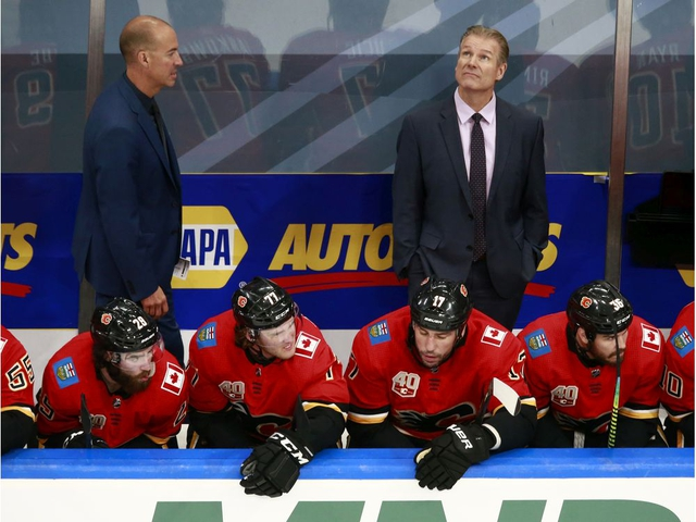 EDMONTON, ALBERTA - JULY 28: Head coach Geoff Ward of the Calgary Flames looks on against the Edmonton Oilers during the second period in an exhibition game prior to the 2020 NHL Stanley Cup Playoffs at Rogers Place on July 28, 2020 in Edmonton, Alberta, Canada. (Photo by Jeff Vinnick/Getty Images)