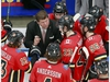 EDMONTON, ALBERTA - AUGUST 03:  Assistant coach Ray Edwards of the Calgary Flames talks with his players as they pull goaltender Cam Talbot in the final minute of the third period against the Winnipeg Jets during Game Two of the Western Conference Qualification Round prior to the 2020 NHL Stanley Cup Playoffs at Rogers Place on August 03, 2020 in Edmonton, Alberta. The Winnipeg Jets defeated the Calgary Flames 3-2. (Photo by Jeff Vinnick/Getty Images)