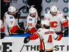 EDMONTON, ALBERTA - AUGUST 11: Rasmus Andersson #4 of the Calgary Flames celebrates his goal against the Dallas Stars at 16:01 of the second period in Game One of the Western Conference First Round during the 2020 NHL Stanley Cup Playoffs at Rogers Place on August 11, 2020 in Edmonton, Alberta, Canada. (Photo by Jeff Vinnick/Getty Images)