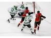 Aug 16, 2020; Edmonton, Alberta, CAN; Calgary Flames center Sam Bennett (93) scores a goal past Dallas Stars goaltender Anton Khudobin (35) during the second period in game four of the first round of the 2020 Stanley Cup Playoffs at Rogers Place. Mandatory Credit: Perry Nelson-USA TODAY Sports ORG XMIT: USATSI-429698