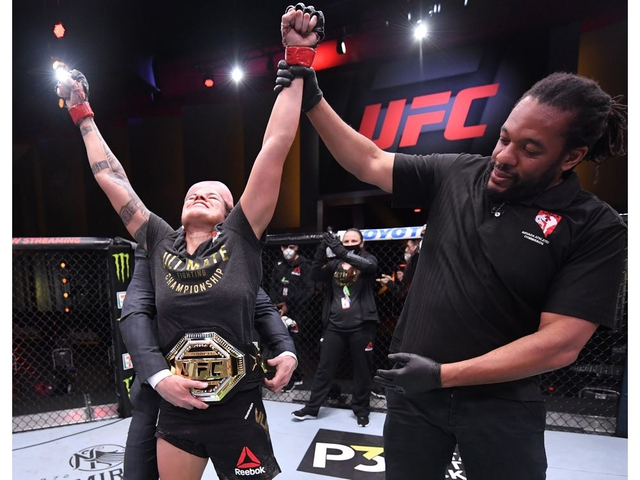June 6, 2020; Las Vegas, NV, USA; Amanda Nunes of Brazil celebrates after her unanimous-decision victory over Felicia Spencer of Canada in their UFC featherweight championship bout during UFC 250 at the UFC APEX.  Mandatory Credit: Jeff Bottari/Zuffa LLC via USA TODAY Sports