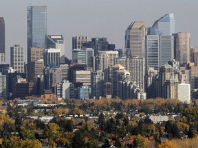 Calgary downtown skyline in Fall. Saturday, October 3, 2020.
