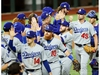 Oct 25, 2020; Arlington, Texas, USA; The Los Angeles Dodgers celebrate their win over the Tampa Bay Rays in game five of the 2020 World Series at Globe Life Field. The Los Angeles Dodgers won 4-2. Mandatory Credit: Kevin Jairaj-USA TODAY Sports ORG XMIT: IMAGN-431120