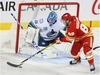 Flames Andrew Mangiapane (88) stick handles in close against Canucks goalie Jacob Markstrom NHL action between the Vancouver Canucks and the Calgary Flames in Calgary on Saturday, October 5, 2019. Jim Wells/Postmedia