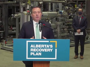 A video frame grab of Premier Jason Kenney announcing new Emissions Reduction Alberta programs supported by Alberta's industry-funded Technology Innovation and Emissions Reduction system and federal dollars.