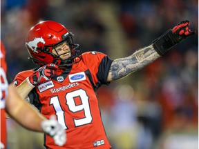 Calgary Stampeders quarterback Bo Levi Mitchell celebrates after a touchdown against the Winnipeg Blue Bombers during CFL football in Calgary on Saturday, October 19, 2019. Al Charest/Postmedia