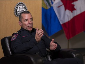 Chief Constable Mark Neufeld is photographed during an interview in Calgary on Friday, Oct. 30, 2020.