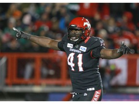 Calgary Stampeders defensive end Cordarro Law celebrates a sack against the Saskatchewan Roughriders in Calgary on Oct. 11, 2019.