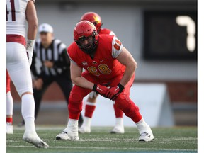 Calgary Dinos offensive lineman Logan Bandy is pictured during the 2019 Mitchell Bowl.