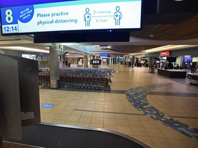 The Edmonton International Airport normally a bustling hub of travelers and vehicles is eerily quite with the severe drop in airline passengers, in Edmonton, April 25, 2020.