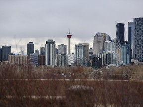 The Calgary skyline was photographed on an overcast day on Wednesday, March 24, 2021.