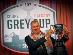 CFL commissioner Randy Ambrosie addresses the media during the State of the League news conference during Grey Cup Week in Calgary on Nov. 22, 2019