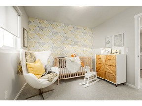 A secondary bedroom in the Mason show home by Homes by Avi, in Savanna in Saddle Ridge.