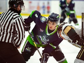 Brett Moravec of the Calgary Canucks lines up for a faceoff during a recent game.