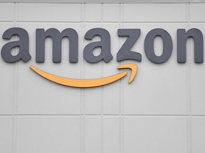 In this file photo the logo of U.S. online retail giant Amazon is seen at the distribution centre in Staten Island in New York, March 30, 2020.