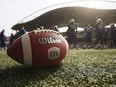 A new CFL ball is photographed at the Winnipeg Blue Bomber stadium in Winnipeg Thursday, May 24, 2018.
