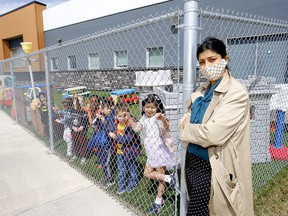 Shilpi Paul, who owns Chapter 1 Daycare in Royal Oak along with her husband, Abi, says their daycare could accommodate 20 more children, built around ratios if they could move their chainlink fence in the outdoor play area back by one foot all around but City Hall is turning the process into a quagmire or unnecessary cost and administrative wrangling in Calgary on Thursday, April 29, 2021.