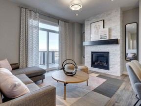 The great room in the Summit End by Trico Homes.