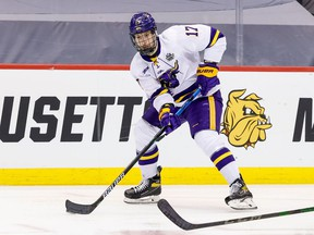 The Calgary Flames have signed right-winger Walker Duehr to an entry-level contract. Duehr, 23, just completed his NCAA career with the Minnesota State Mavericks.