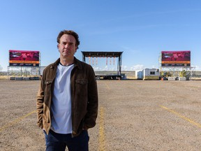 David Howard, president of The Event Group, was photographed at the Grey Eagle Drive-In on Friday, May 14, 2021. The Event Group, which is the managing partner of the Grey Eagle site, is requesting to continue with their outdoor events after they were told to shut down their drive-in movie on May 13.
