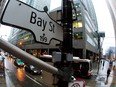 A Bay Street sign, the main street in the financial district is seen in Toronto, Jan. 28, 2013.
