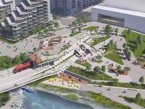 Rendering of the proof of concept design to re-route the Eau Claire Promenade up-and-over the Green Line LRT alignment (birds-eye view of the future plaza area).
