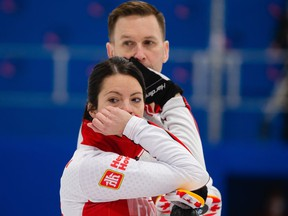 Team Canada's Kerri Einarson and Brad Gushue compete at curling's world mixed doubles tournament in Aberdeen, Scotland on Thursday, May 20, 2021.