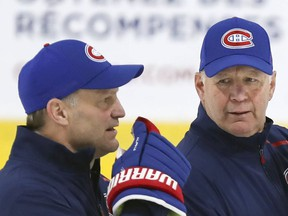 Then Montreal Canadiens coaching duo Kirk Muller (associate coach) and Claude Julien (head coach) hold practice at the Bell Sports Complex in this photo from November 2019.