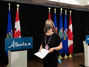 Dr. Deena Hinshaw, Alberta chief medical officer of health, leaves her final regularly scheduled COVID-19 update during a press conference at the Federal Building in Edmonton, on Tuesday, June 29, 2021.