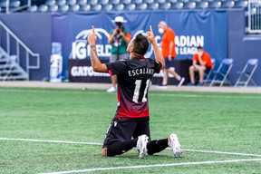 Cavalry FC's Jose Escalante celebrates his goal against York United FC during yesterday's win at IG Field in Winnipeg.
