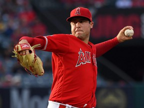 Tyler Skaggs of the Angels pitches in the first inning of a game against the Athletics at Angel Stadium, in Anaheim, Calif., June 29, 2019.