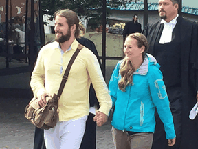 David and Collet Stephan leave court in Lethbridge on Sept. 19, 2019.