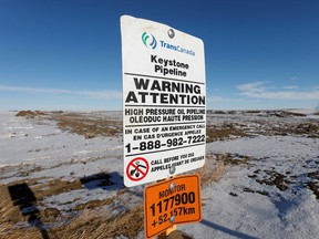 The route of the Keystone XL crude oil pipeline lies idle through a farmer's field after construction stopped near Oyen, Alberta.