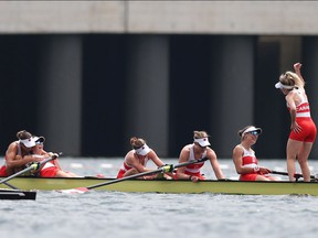 TOKYO, JAPAN - JULY 30: Andrea Proske, Susanne Grainger, Madison Mailey, Sydney Payne, Avalon Wasteneys and Kristen Kit of Team Canada celebrate winning the gold medal during the Women's Eight Final A on day seven of the Tokyo 2020 Olympic Games at Sea Forest Waterway on July 30, 2021 in Tokyo, Japan.