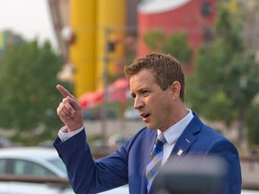 Calgary Ward 6 City Councillor Jeff Davison addresses the third-party advertiser controversy in his mayoral campaign as well as the upcoming vote on the new arena deal during a press conference on Wednesday, July 28, 2021.