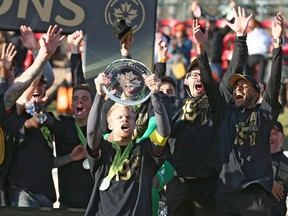 Forge FC hoists the trophy after the team won Leg 2 of the Canadian Premier League Championship  between Forge FC and Cavalry FC at ATCO Field at Spruce Meadows in this photo from Nov. 2, 2019.