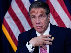 New York Gov. Andrew Cuomo speaks during a news conference in New York City, May 10, 2021.