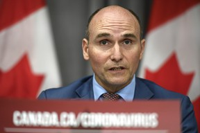 President of the Treasury Board Jean-Yves Duclos speaks during a news conference on the COVID-19 pandemic on Parliament Hill in Ottawa, on Monday, June 22, 2020.