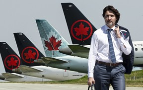 Grounded Air Canada planes sit on the tarmac at Pearson International Airport during the COVID-19 pandemic in Toronto on Wednesday, April 28, 2021.