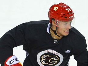 Lucas Ciona participates in Calgary Flames 2021 prospects' NHL training camp in Calgary on Thursday.