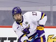 The recently signed Walker Duehr -- pictured here in action with the Minnesota State Mavericks -- showed well in the Flames' Saturday night rookie showdown with the Edmonton Oilers youngsters.
