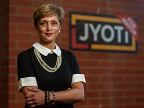 Mayor-elect Jyoti Gondek poses for a photo at her campaign headquarters in Calgary on Thursday, October 14, 2021.