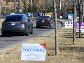 Candidate signage on 17 Ave. S.W. heading towards the city centre in Ward 6 of Calgary on Tuesday, October 12, 2021.