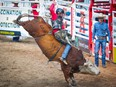 Dakota Buttar hangs on tight for an 90 on Timber Jam during the bull-riding event at the Calgary Stampede rodeo on Friday, July 9, 2021.
