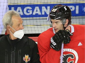 Calgary Flames head coach Darryl Sutter had Sean Monahan centring the fourth line at practice on Tuesday.
