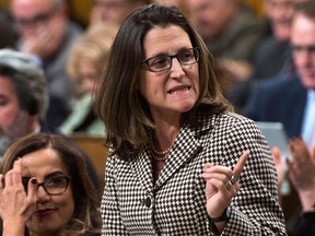 Minister of Foreign Affairs Chrystia Freeland responds to a question during question period in the House of Commons on Parliament Hill in Ottawa on Tuesday Dec. 12, 2017. THE CANADIAN PRESS/Sean Kilpatrick