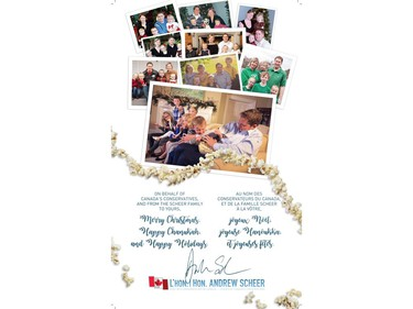 The interior of Conservative Leader Andrew Scheer's Christmas card is seen in this image.